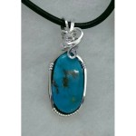 Sterling Silver Morenci Turquoise Pendant